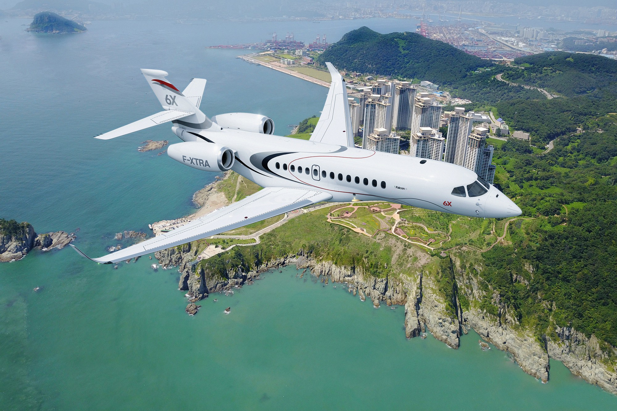 Falcon 6X in flight