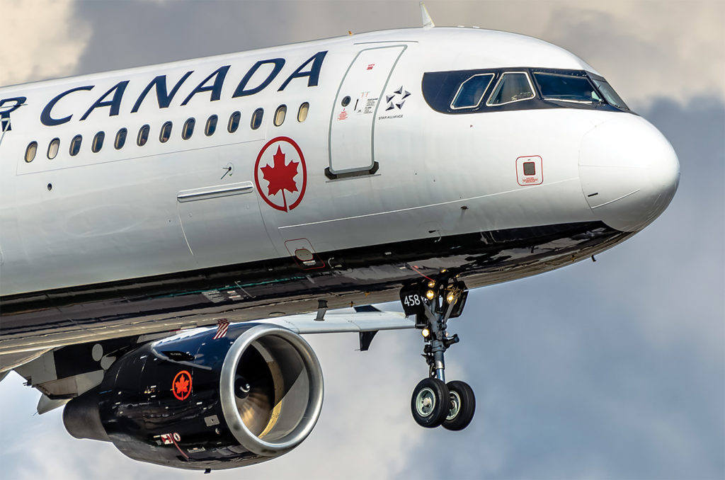 Air Canada airliner in flight