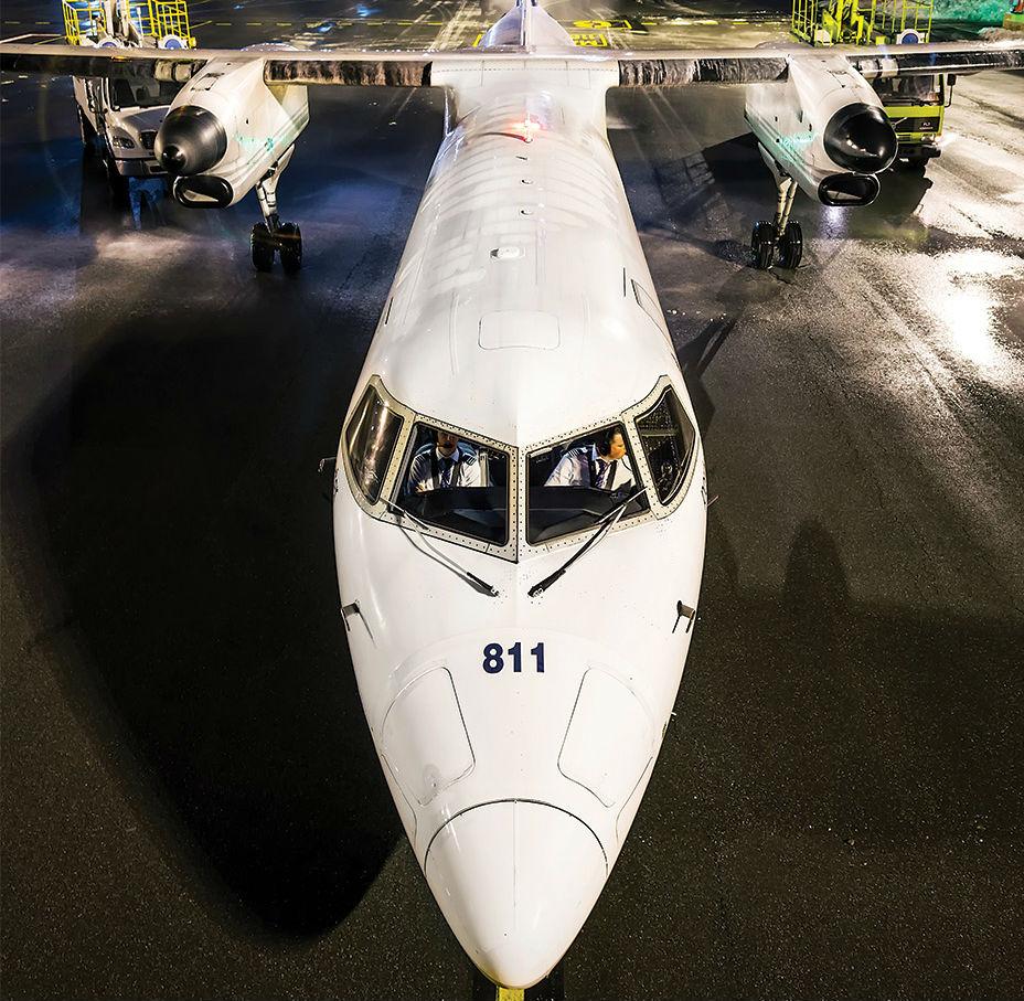 Jet rests on ground