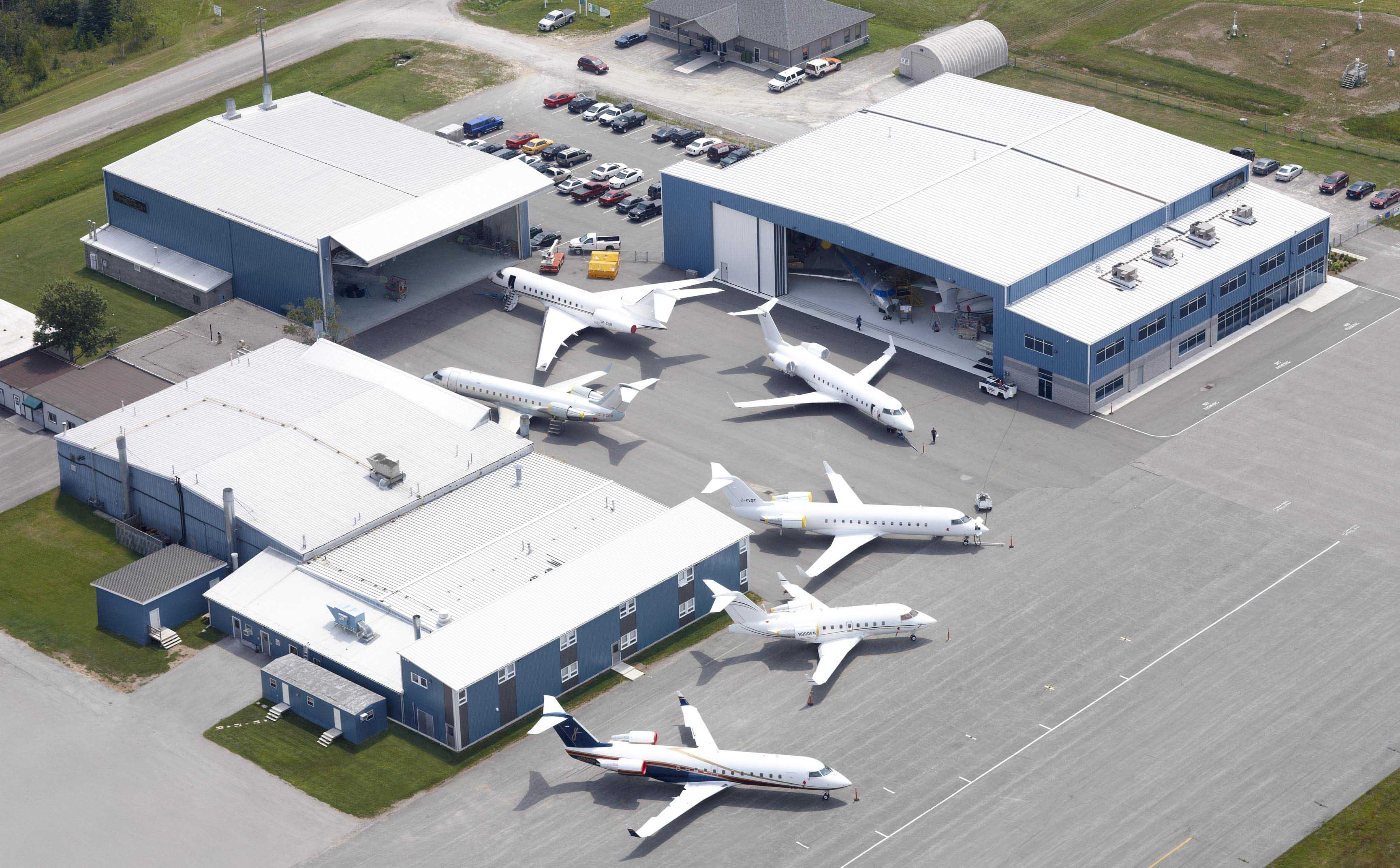 An aerial view of part of the Flying Colours Corp. Peterborough facilities.