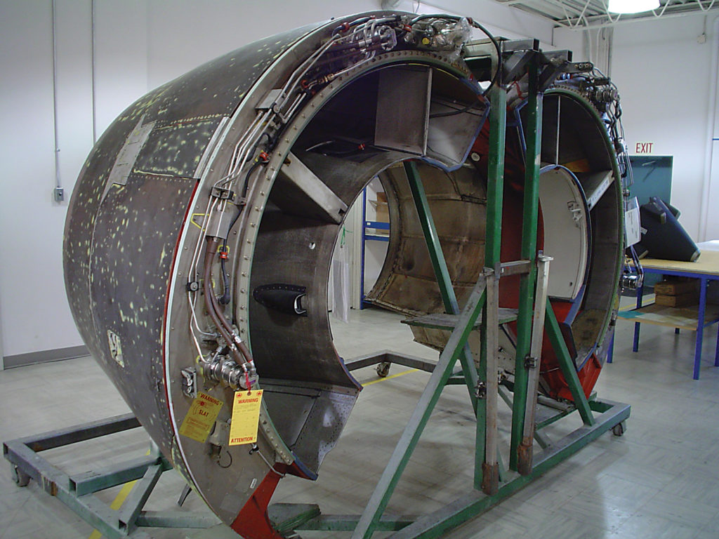An Airbus A320 thrust reverser on the shop floor at ACS's Winnipeg location.