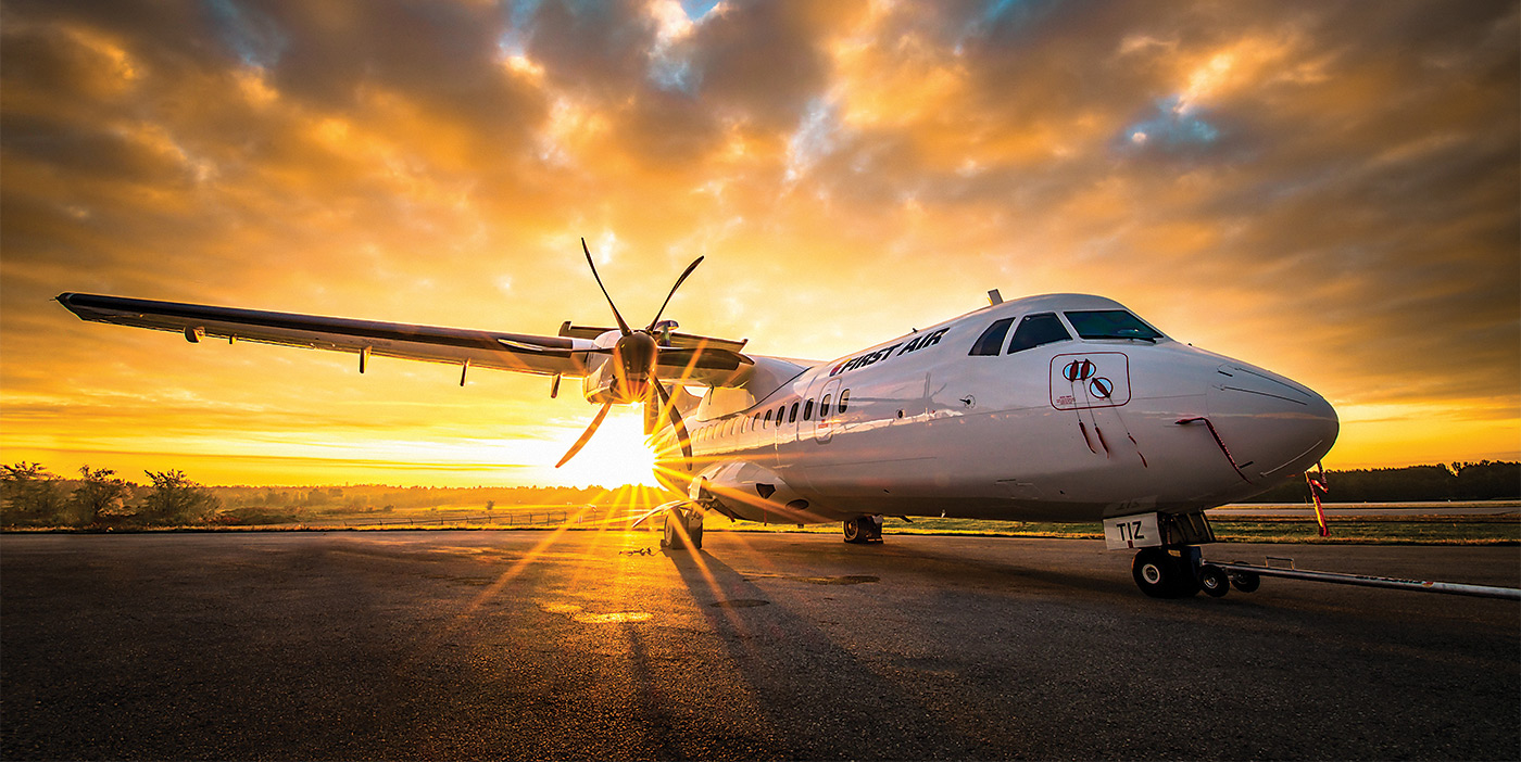 ATR 42 at sunset