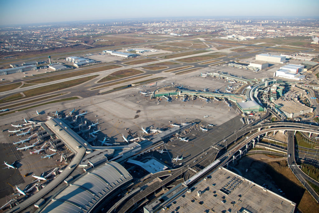 An aerial view of Toronto Pearson International Airport