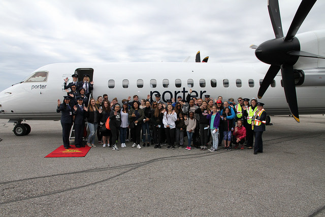 Porter Airlines is a big sponsor of the event, and it typically brings around 15 of its female pilots in uniform, along with an aircraft. Girls Take Flight 2017 Photo