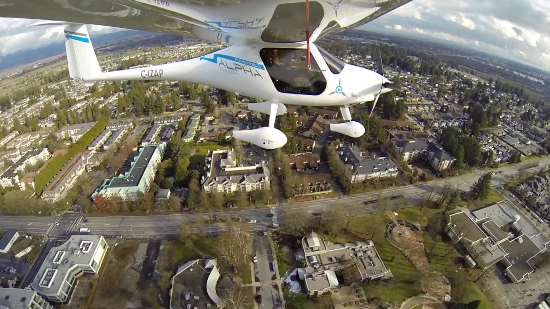 The Pipistrel Alpha Electro cruises over British Columbia's lower mainland.