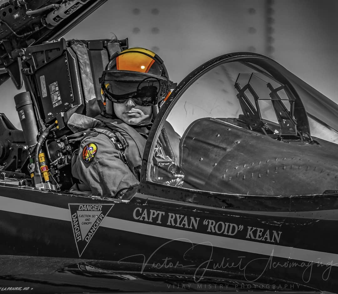 "Ryan ""Roid"" Kean sits in the cockpit of the 2016 CF-18 Demo Hornet. Photo submitted by Vijay Mistry (Instagram user @victor_juliet_aeroimaging) using #skiesmag"