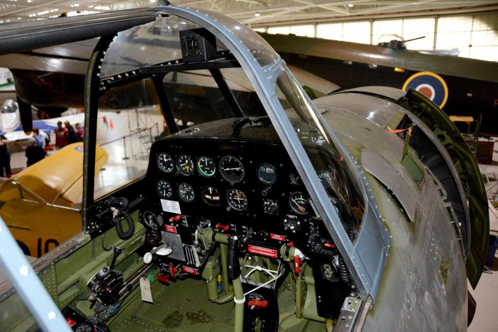 A top-down view of the restored Grumman TBM Avenger cockpit