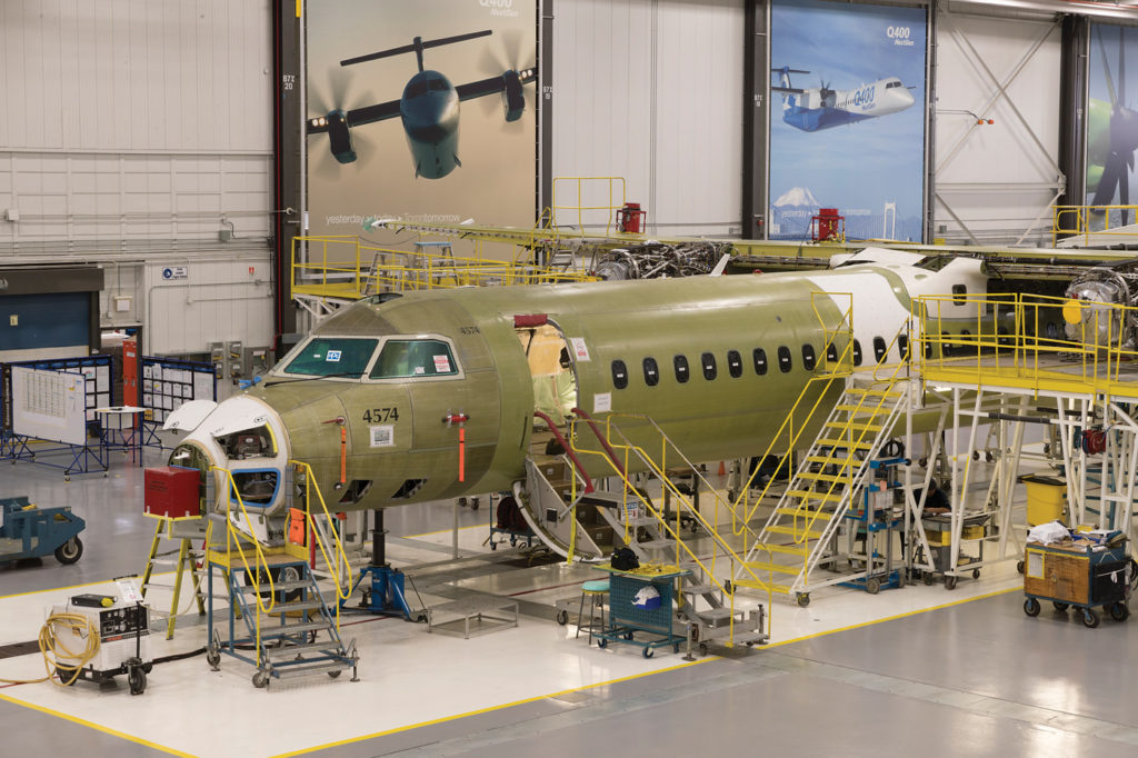 Aircraft being assembled inside factory