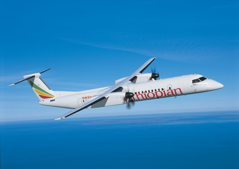 A Bombardier Q400 aircraft flies with Ethiopian Airlines' livery. Bombardier Photo