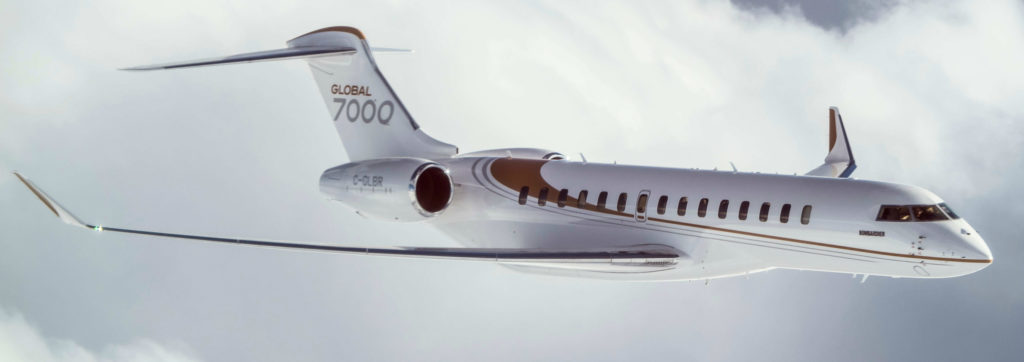 Global 7000 flight test vehicles have completed several long-haul flights to destinations including Sydney, Dubai and Hawaii. Bombardier Business Aircraft Photo