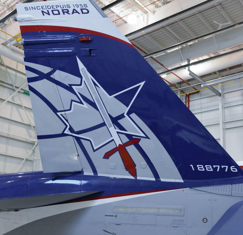 Closeup of tail of aircraft