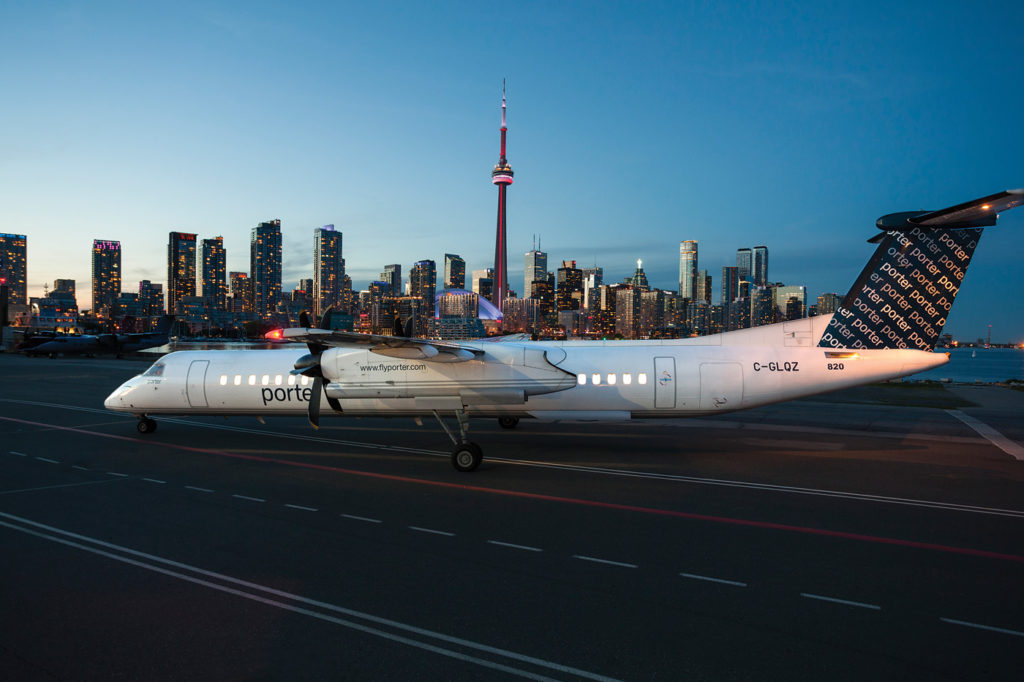 Porter Airlines Q400 rests on tarmac