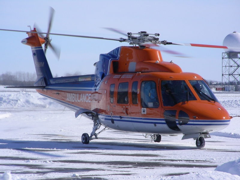 Ornge helicopter on ground