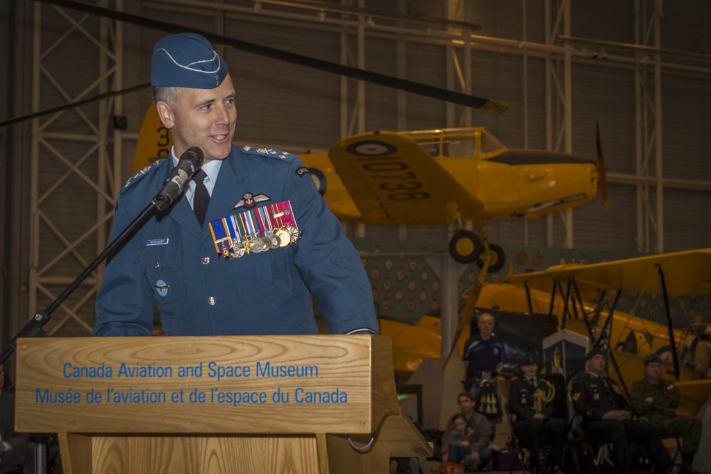 LGen Al Meinzinger speaks at a ceremony at Canada Aviation and Space Museum in Ottawa, Ont., where he assumed command of the Royal Canadian Air Force