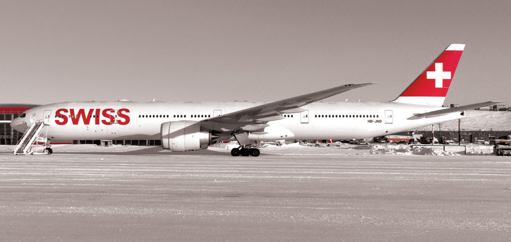 A Swiss Air Lines Boeing 777-300ER rests at Iqualuit after being diverted there on a flight from Zurich to Los Angeles.