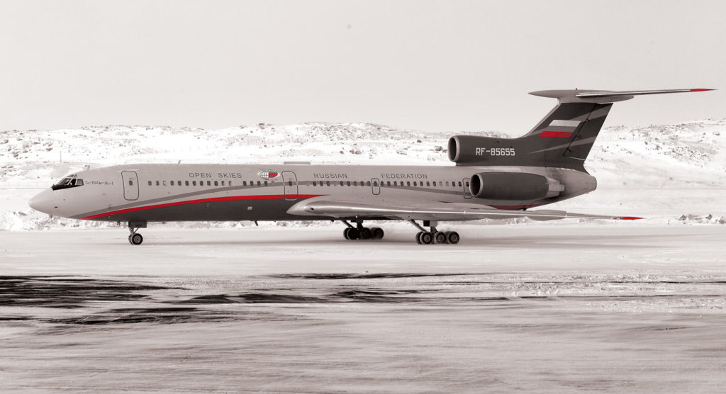 A Russian Federation Tupolev Tu-154M rests at Iqaluit International Airport for a tech stop during it's Open Skies Treaty tour across North America.