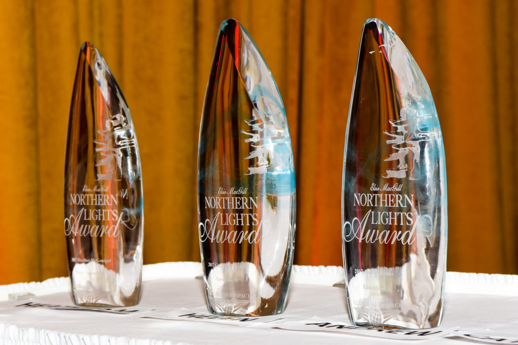 Closeup of three Elsie awards