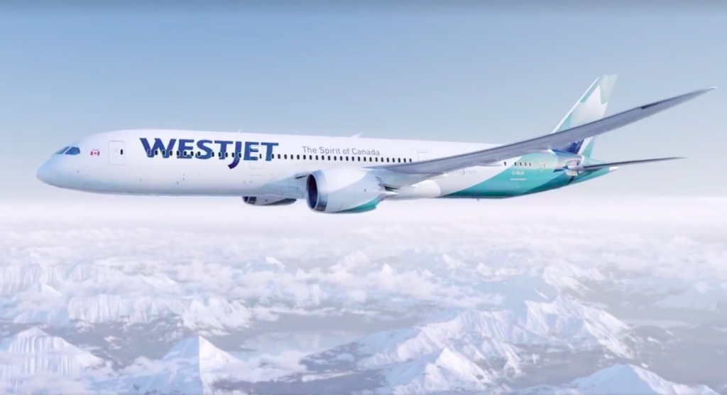 Dreamliner in new WestJet livery