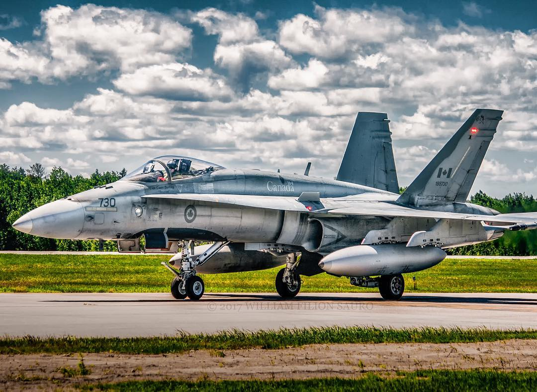 An RCAF CF-188 Hornet taxis at Aéroport Saguenay-Bagotvillein Quebec. Photo submitted by William Filion Sauro (Instagram user @will_spotting_yul) using #skiesmag