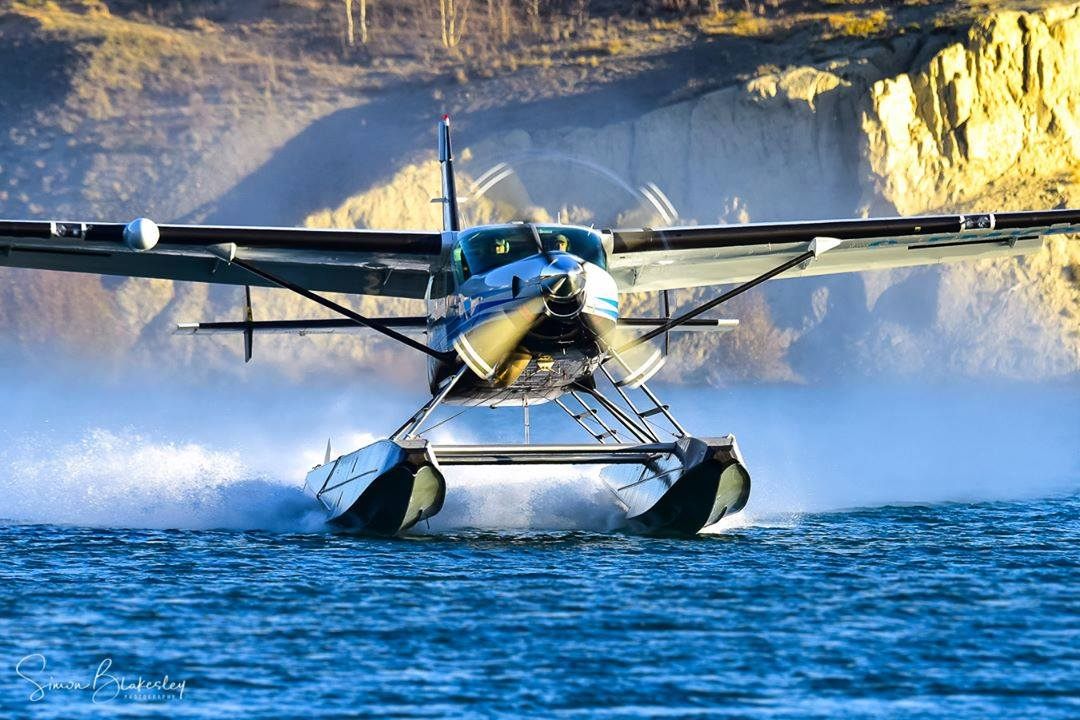 A Black Sheep Aviation Cessna 208 Supervan 900 with a Texas Turbines engine upgrade departs Schwatka Lake, Yukon. Photo submitted by Simon Blakesley (Instagram user @simon_blakesley) using #skiesmag