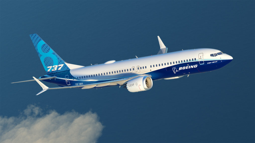 A Boeing 737 MAX8 aircraft, in flight.