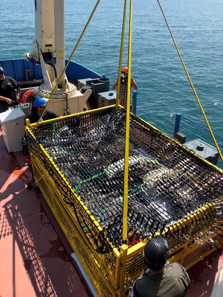 Metal cradle rests on ship deck.