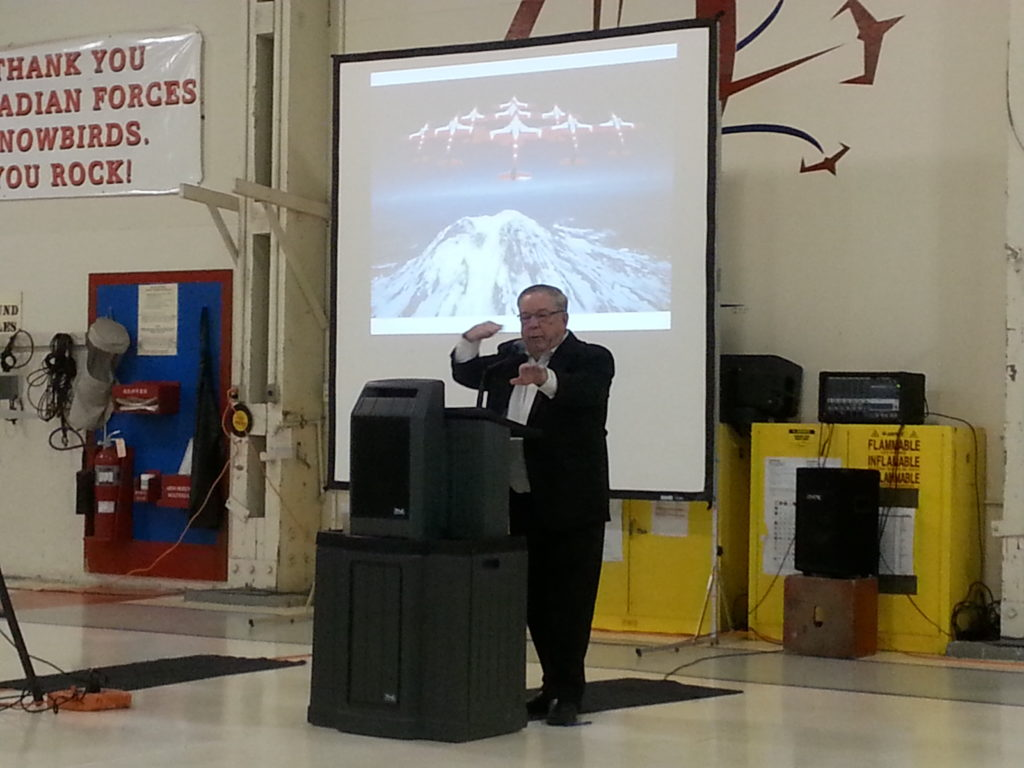 Yogi Huyghebaert speaks at 15 Wing Moose Jaw, Sask., in October 2014, during the celebration for the 50th anniversary of the Canadair CT-114 Tutor. Mike Luedey Photo