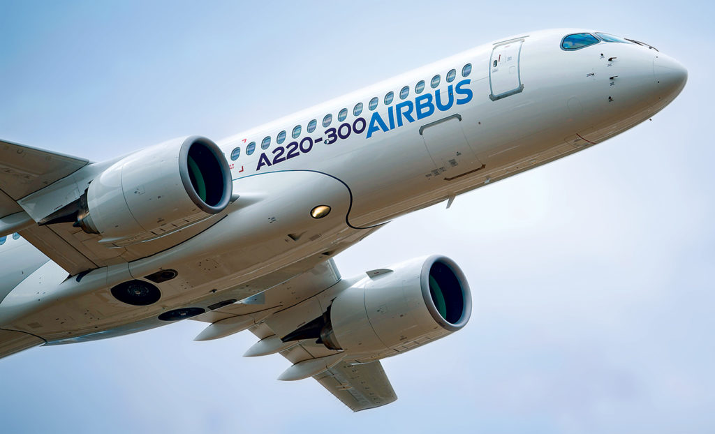 Airbus A220-300 in flight over Farnborough