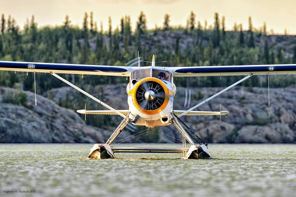 A de Havilland DHC-2 Mk I from AHMIC AIR Ltd., taxiing in on Back Bay, Yellowknife, N.W.T. Photo submitted by Stephen M. Fochuk‎