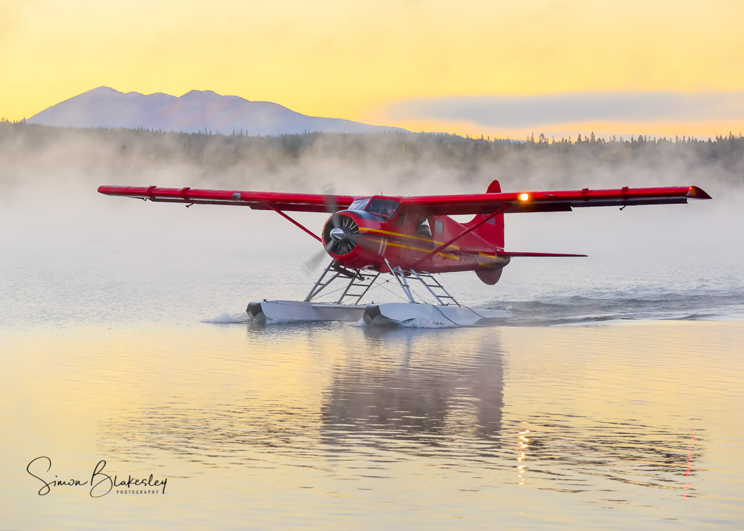 The right temperature, humidity, and Yukon light come together as Alpine Aviation's de Havilland DHC-2 Beaver sets up to depart from Schwatka Lake, Yukon. Photo submitted by Simon Blakesley (Instagram user @simon_blakesley) using #skiesmag