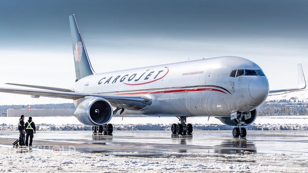 A Cargojet Boeing 767-39H(ER) rolling into Apron 9 at John C. Munro Hamilton International Airport. Photo submitted by @yyc_aviationphotography using #skiesmag