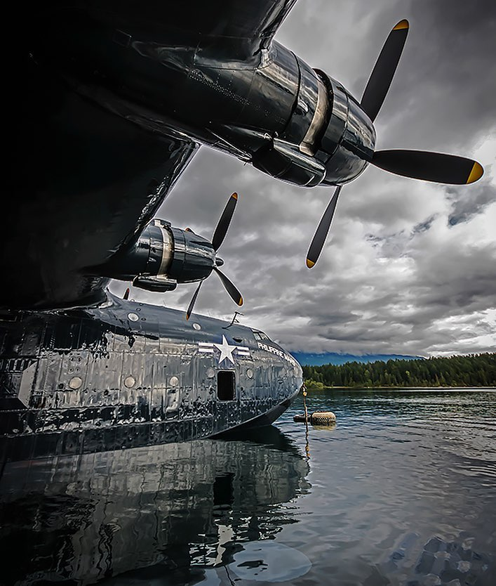 The Mighty Martin Mars. Shot in 2015, the last time the Philippine Mars was in the water at its home base of Sproat Lake, B.C. Photo submitted by Derek Heyes (Instagram user @hazers_flightline) using #skiesmag