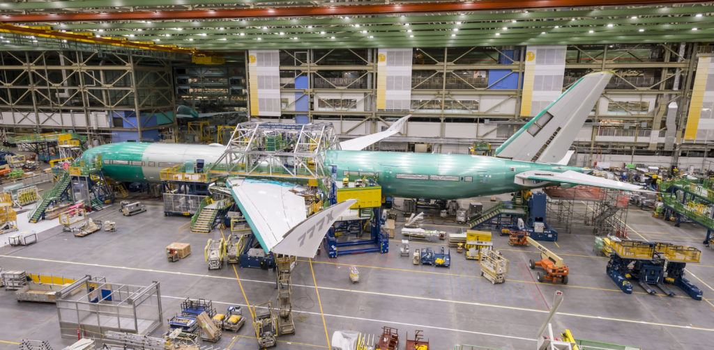 Boeing teams connected the airplane's nose, mid and aft sections in the company's factory in Everett, Wash.