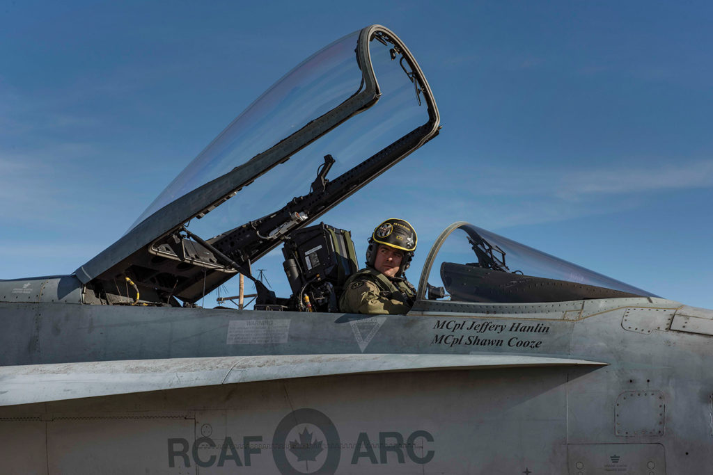 LCol Forrest Rock, commanding officer of 401 Tactical Fighter Squadron, prepares for flight during Exercise Sandy Fleece. Cpl Manuela Berger Photo