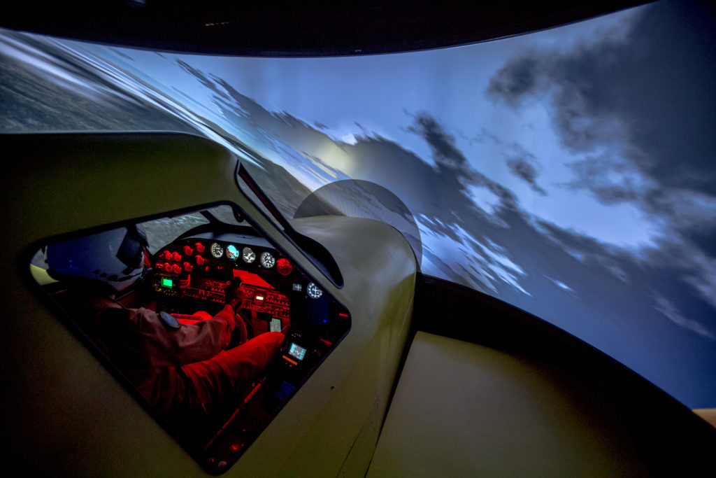 The simulator's cockpit will be adjusted to Conair's AT-802 Fire Boss configuration.