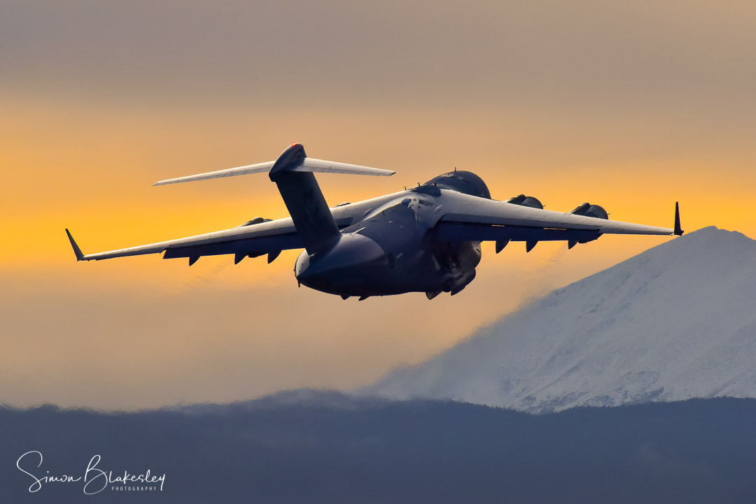 A beautiful Whitehorse dawn departure to Canadian Forces Station Alert for this Royal Canadian Air Force 429 Squadron Boeing CC-177 lll Globemaster. Photo submitted by Simon Blakesley (Instagram user @simon_blakesley) using #skiesmag