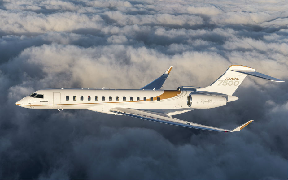 The latest addition to Bombardier's fleet is the Global 7500 business jet, with a first delivery scheduled for next month. Bombardier Photo