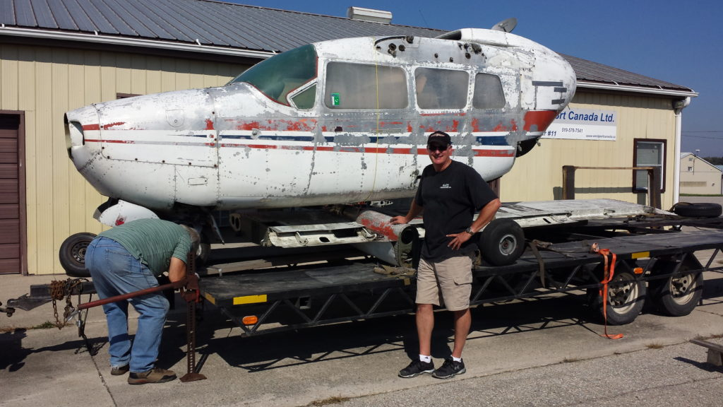 The aircraft being restored is a 1967 Cessna 337B Super Skymaster with roughly 9,000 hours on it, the airframe stripped of its paint, wings, engines and most other parts. Sameer Haqqi Photo