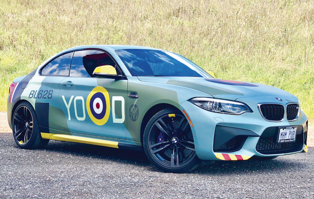 Skies publisher Mike Reyno had his car specially wrapped to resemble a Supermarine Spitfire from the RCAF's 401 Tactical Fighter Squadron. Mike Reyno Photo