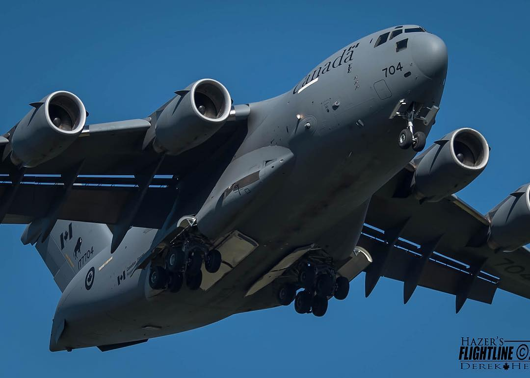 CC-177 Globemaster III on short final during the 2015 Abbotsford Airshow. Photo submitted by Derek Heyes (@hazers_flightline on Instagram) using #skiesmag