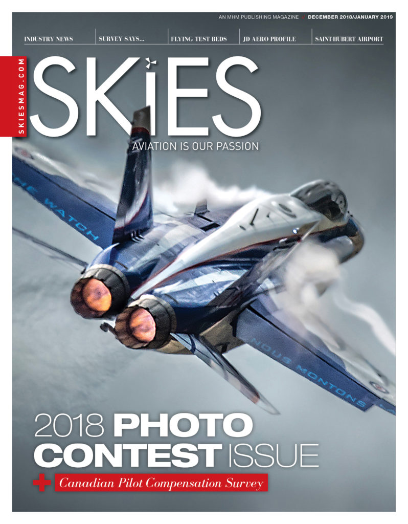 Stuart Sanders has been announced the Grand Prize winner of the 2018 Skies Photo Contest. His shot of a CF-18 during a demo is featured on the cover of Skies' Dec. '18/Jan. '19 issue. MHM Publishing Photo