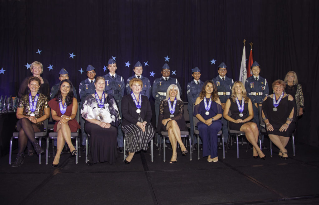 The Northern Lights Aero Foundation annually honours outstanding Canadian women who have contributed significantly to aviation and who continue to lead the way for other women entering these industries. Pictured is the Northern Lights Class of 2018 from last year's NLAF gala. Andy Cline Photo