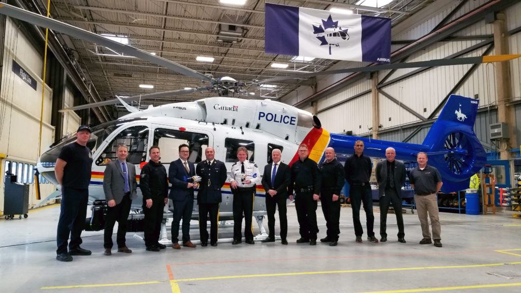 Left to right: William Ward, aircraft maintenance engineer; Bruno Thuot, director of maintenance and contract technical authority (RCMP); Andre Vermette, pilot (RCMP); Nicolas Pignol, director of programs & aircraft operations (Airbus Helicopters Canada); Michel Arcand, chief superintendent, director general RCMP Air Services Branch (RCMP); Nigel Bushe, officer in charge, 'E' Division Air Services (RCMP); Wayne Woytkiw, regional sales manager, Alaska, Hawaii & Western Canada (Airbus Helicopters Canada); Roger Thomson, pilot (RCMP); Curtis Brassington, tactical flight officer (RCMP); Raman Sharma, mission equipment engineer (RCMP); Jacque Giard, chief pilot (RCMP); and Clarke Paterson, aircraft maintenance engineer (RCMP).