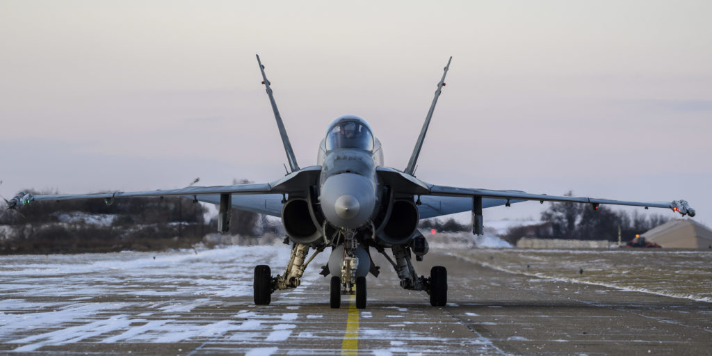 The fighter jets were part of an air task force conducting NATO enhanced air policing in partnership with the Romanian Air Force.