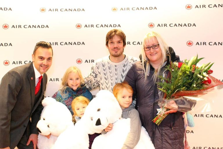 Air Canada pilots and flight attendants offered gifts to arriving customers on select flights. Air Canada Photo