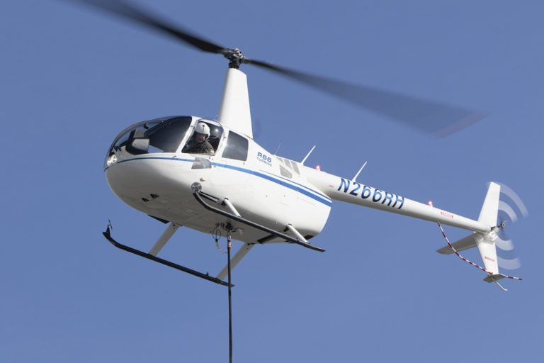 The cargo hook increases the R66's maximum gross weight from 2,700 lb to 2,900 lb. Robinson Photo
