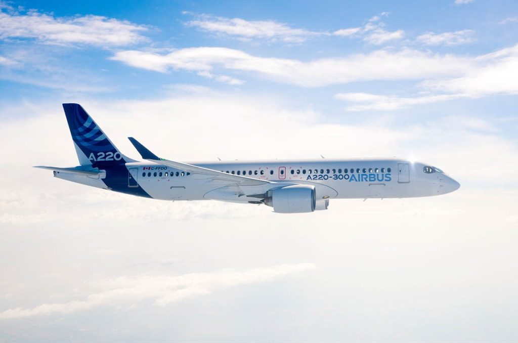 The workers who build the A220 at Mirabel have ratified a proposed new labour contract. Airbus Photo