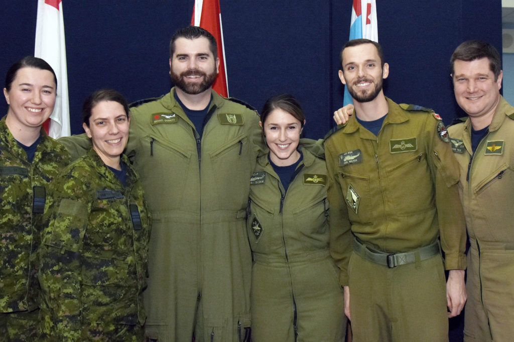 Air and Space Power Operations Course (ASPOC) students, from left: Captain Jaclyn Deutsch, Maj Jennifer Campbell, Captain Michael Garrett, Captain Alyssa Gagne (top student), Captain Nigel Mahon and Captain Renaud Thys. RCAF Photo