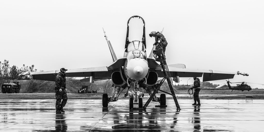 On Oct. 24, 2018, an RCAF CF-188 Hornet pilot exits his aircraft after a training flight at Mihail Kogalniceanu Air Base in Romania during Operation Reassurance. Cpl Dominic Duchesne-Beaulieu Photo