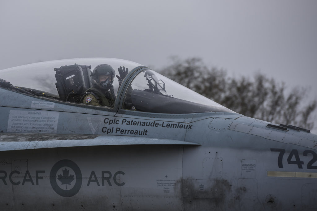 LCol Tim Woods, commander of Air Task Force Romania, prepares for take-off from Mihail Kogalniceanu Air Base in Romania on Nov. 26, 2018, during Operation Reassurance. Cpl Dominic Duchesne-Beaulieu Photo